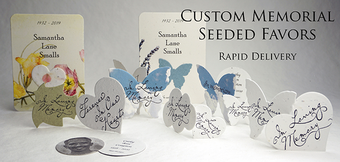 memorial seed paper cards and favors