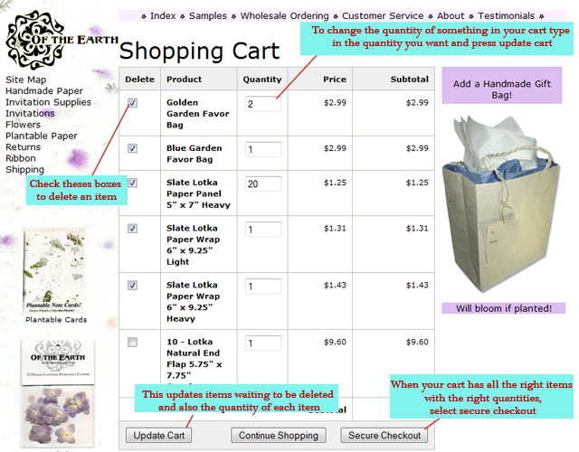 Help with our shopping cart