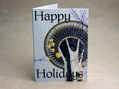space needle seed paper holiday card