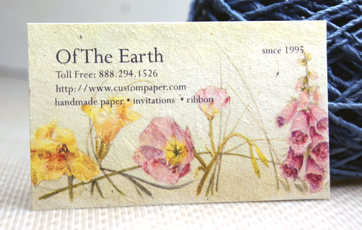 Business cards on handmade paper with flower seeds seed paper with color printing colourmoves