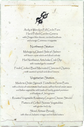 View Sample Dinner Menu