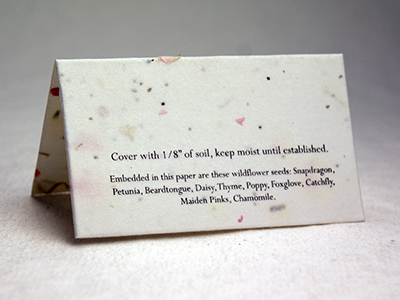 24s seed paper place card with print