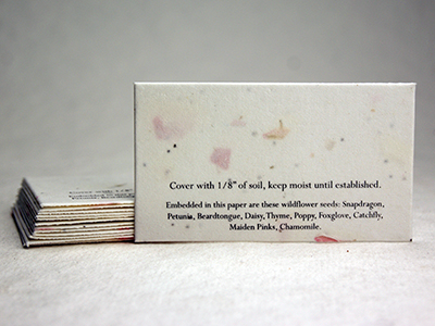 seed paper place card with print