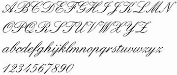 formal font for names and date