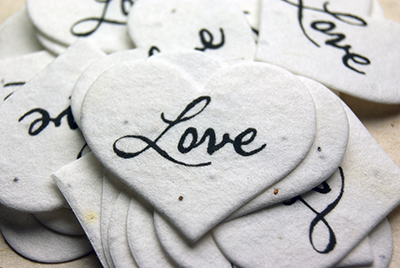 printed seed paper hearts Love