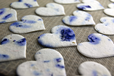 purple seed paper hearts