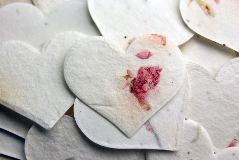 seed paper hearts from handmade paper