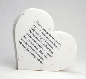 planting instructions on seed paper heart