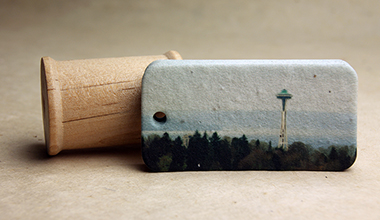 space needle seed paper tag