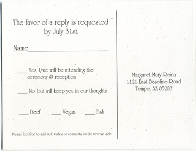 Wedding Response Card Wording.Rsvp Cards With Meal Options