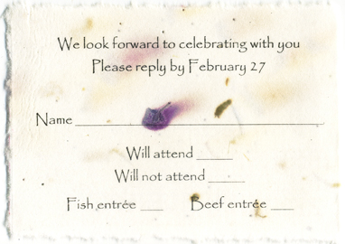 Rsvp cards cotton handmade seed paper reply card stopboris Choice Image