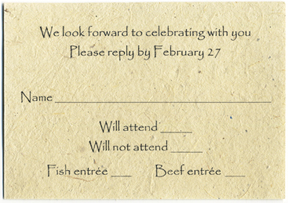 Lotka Seed Paper Wedding Reply Card