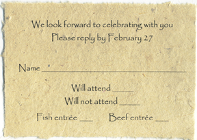 Lotka Seed Paper Wedding RSVP Card