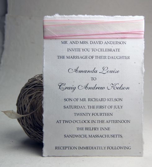 seed paper wedding invitations 5x7 panel invitation with silk
