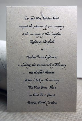 Cut edge lotka seed paper invitation panel