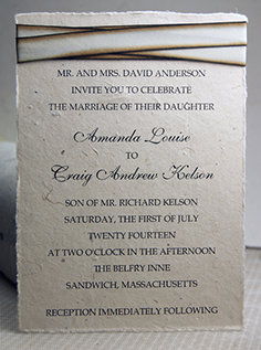 Silk ribbon invitation #014 on lotka seed paper
