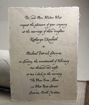 5x7 lotka torn edge handmade paper invitation