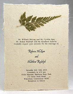 cedar branch invitation on lotka seed paper