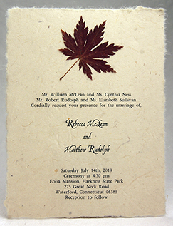 japanese maple leaf invitation on lotka seed paper