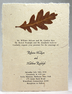 oak leaf invitation on lotka seed paper