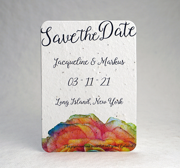 Watercolor Floral print seed paper invitation 5x7