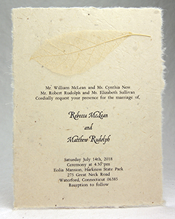 wintersweet leaf invitation on lotka seed paper