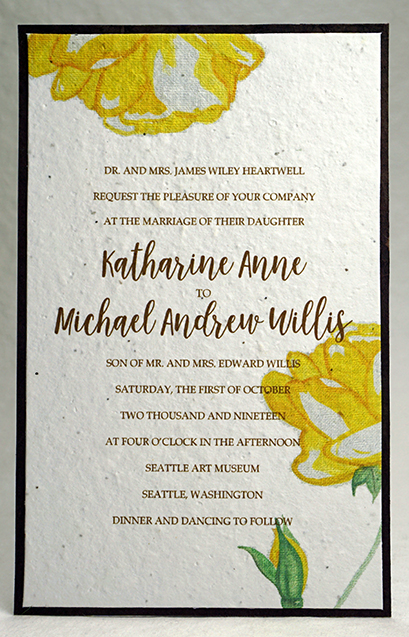 Watercolor Yellow Rose print seed paper invitation 5x7
