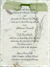 cotton paper invitation with vellum and organza ribbon
