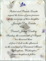 Cotton Paper invitation with vellum and flower sticker