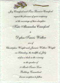 Handmade Invitation printed on vellum, attached with misty fern