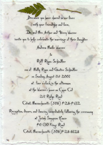 seed paper wedding invitations 5x7 panel invitation with leather fern