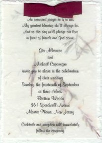"Click to order 5"" x 7"" Handmade Invitation with Silk Bow"