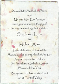 "Click to order 5"" x 7"" Handmade Invitation printed directly on the paper"