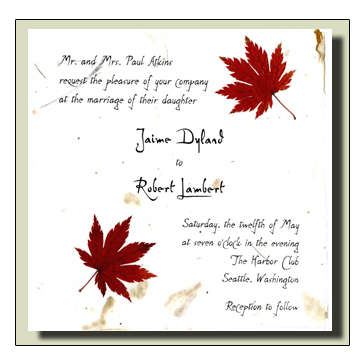 Japanese Maple Leaf Flowerseed Handmade Invitation