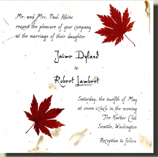 Invitation with mini maple leaves