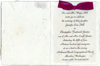silk ribbon bow invitation