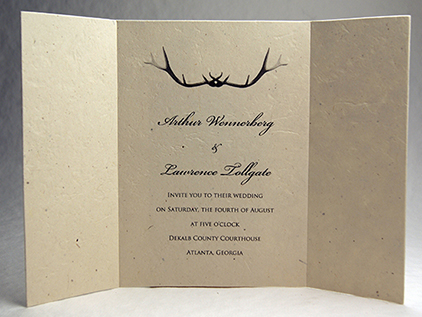 5x7 folding antler invitation