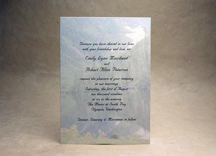 5x7 panel invitations with print and art double thick option mountain lake watercolor invitation stopboris Gallery