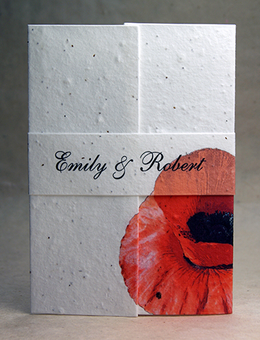 5x7 Folding Red Poppy Seed Paper Wedding Invitations Wildflower