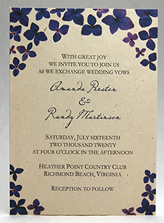 Purple Hydrangea Border invitation