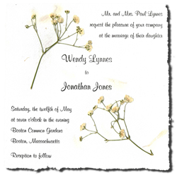 "6"" x 6"" Handmade Invitation with Baby's Breathe"
