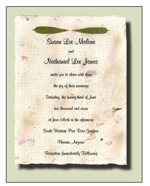 Bamboo Leaf Flowerseed Handmade Invitation