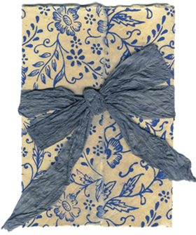 Blue Garden Paper with Big Bow