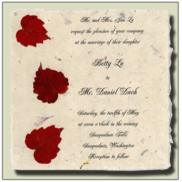 Boston Ivy Flowerseed Handmade Invitation