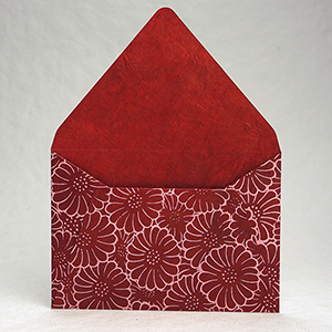 red zinnia envelope