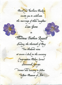5x7 panel invitation with lavender larkspur