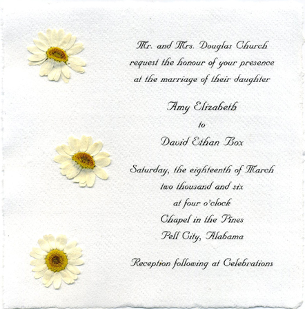 Cotton Handmade Flower Invitation, Daisy