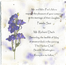 6x6 cotton panel invitation with print and flowers