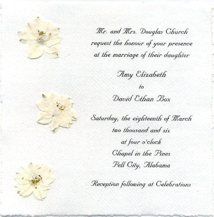 Cotton Handmade Flower Invitation, White Larkspur