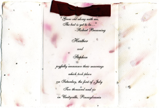 6x9 Handmade Invitation with Silk Bow